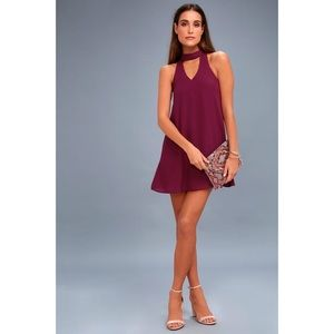 Lulu's Groove Thing Magenta Swing Dress Mini Shift